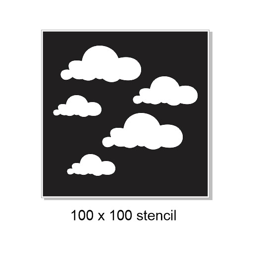 Mini stencil clouds 1, 100 x 100mm . Min buy 3