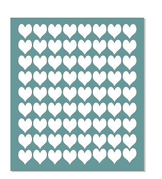 13 x 15 hearts stencil- to suit large Gelli plate , Off the page