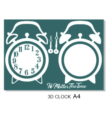 3d Vintage clock. A4 sheet . Min buy 3