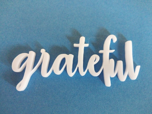 Acrylic word Grateful 23mm high 76 long min buy3