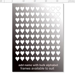 90 hearts cut out. matt  cut from black Hampton board , can also