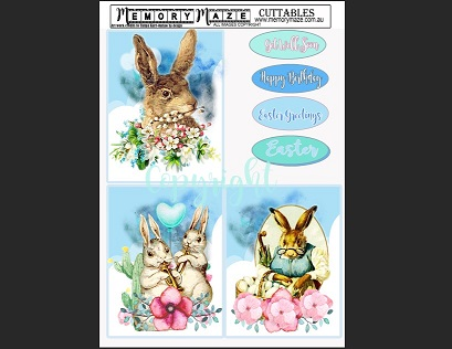 Easter Bunnies, Cuttable sheet Min buy 5