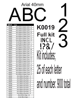 Arial Alphabet kit 40mm no stand k0019 25 of each letter and num