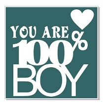 You are 100% Boy. 100 x 100mm. Min buy 5.
