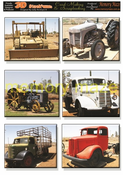 DS0718 tractors  & trucks   min buy 5 can be cut out by nested d