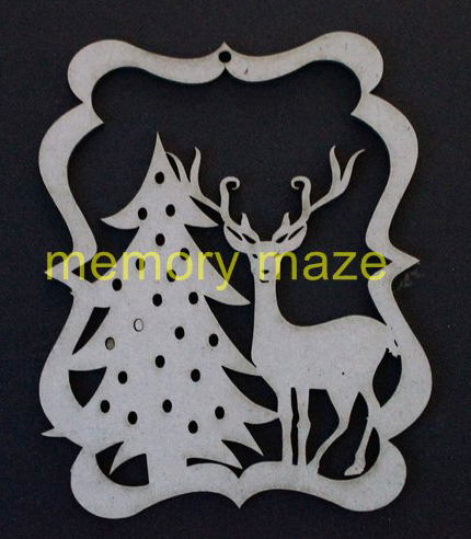 Christmas tree and reindeer  decoration approx 80 x 110 mm pack