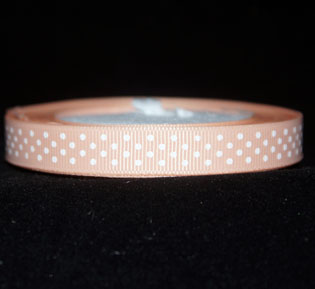 Gross grain Ribbon 10mm Apricot white spots