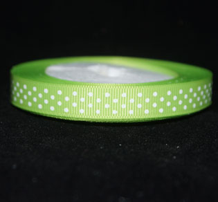 Gross grain Ribbon 10mm  Lime white spots