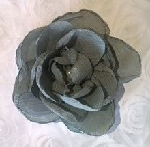 Elsa Grey Chiffon Rhinestone Flower Colour -Pack of 3