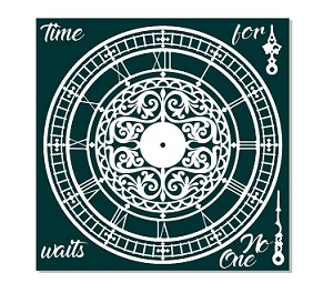 Ornate clock  time waits for no one 12x12.