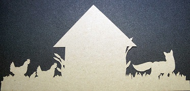 FOX & CHOOKS CUT IN CARDSTOCK Kraft YOU ARE BUYING A PACK OF 5 P