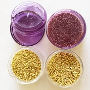 Micro beads,glass, Gold 10 gram pot