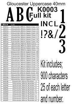 GLOUSTER ALPHABET  KIT   u/c  40MM FULL KIT 25LETTER AND NUMBERS