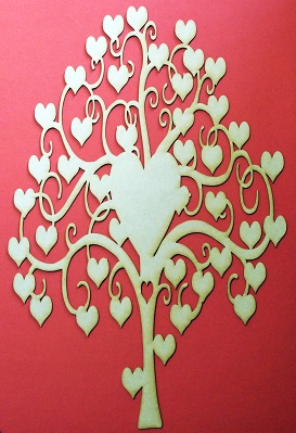 MDF heart frame 580 x 380 elongated hearts  for frame or wall