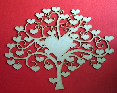 Heart signature tree 500 x 380 frame or hang on wall