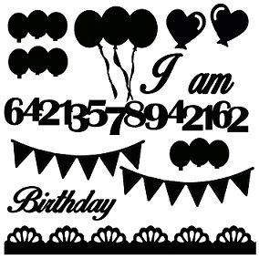 I am ,birthday,banner,balloons,numbers 12 x 12