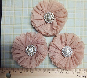Chiffon Rhinestone Flower Colour -Medium bling centre  PACK OF 3