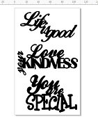 Life is good,love your kindness,you are special  100 x 180mm min