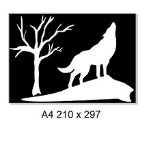 Wolf & tree . 2 Piece stencil & mask. A4 sold individually