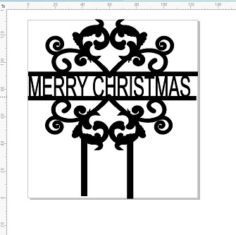 MERRY CHRISTMAS -125 X 131   Acrylic cake topper White, clear or
