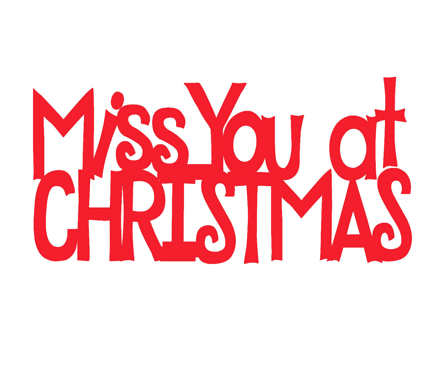 Miss you at christmas Red  mini 44 x 23 pack 10