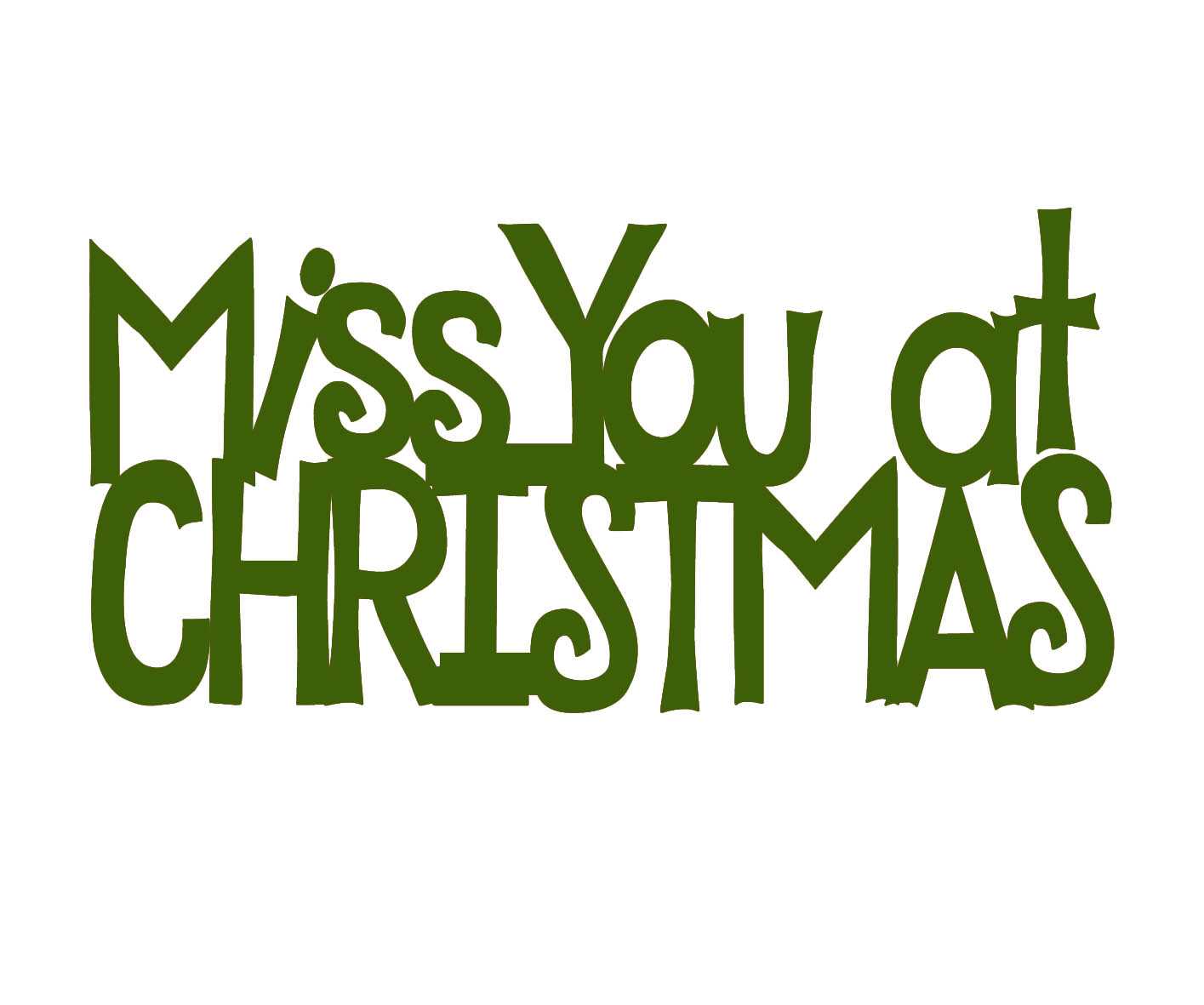 Miss you at christmas green  mini 44 x 23 pack 10