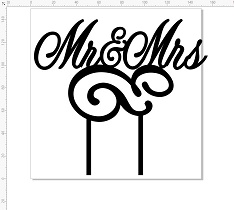 Mr & Mrs 160 x 160Acrylic cake topper