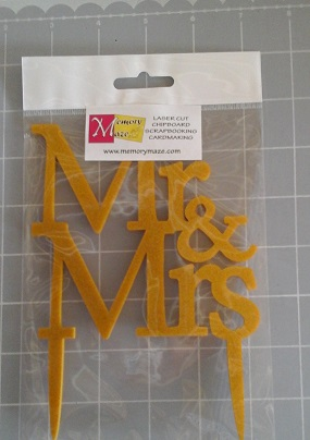 Mr & Mrs  Gold Glitter cake topper Acrylic