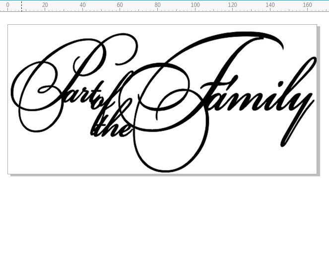 Part of the family  Script  min buy 3. 165 x 80mm