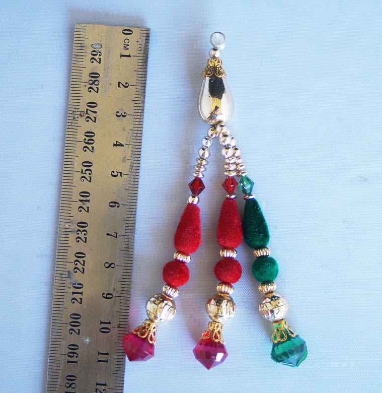 Red and green velvet drops with gold blingsal pack of 6