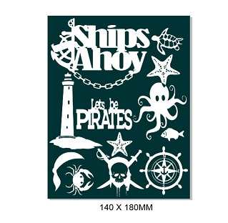Ships Ahoy,Lets be Pirates,seaside   -140 x 180mm-  Min buy 3