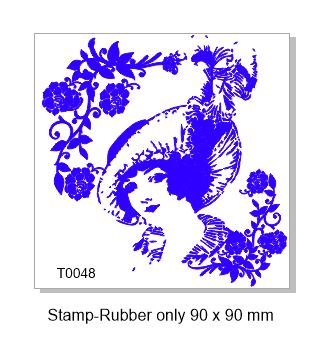 Vintage Lady stamp ,90 x 90 MM, Rubber only
