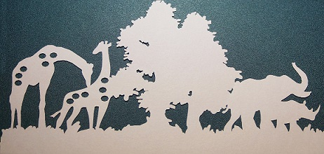 Wild animal, elephant and giraffe,rhino  scene CARDSTOCK PREPACK