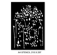 A4 Stencil raindrops, 210 x 297mm. Min buy 2
