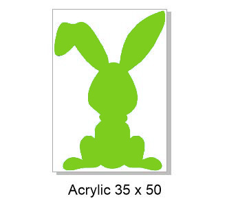 Acrylic 35 x 50 mm Bunny Easter,Rabbit, pack of 4