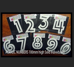 Acrylic Numbers 100mm High sold individually,