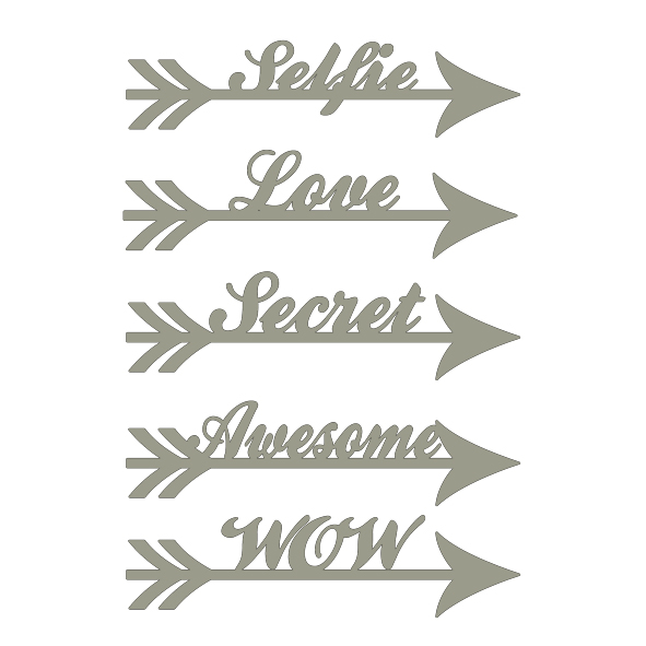 Arrow words Selfie love secret awesome wow 100 x 150 min buy 3
