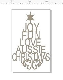 Aussie Xmas, Christmas tree MINI   36 x 57 mm  Pack of 10 , Aust