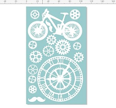 Bike,cogs,clock moustache 110 x 180  min buy 3
