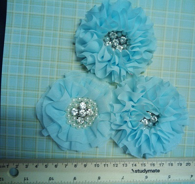 Chiffon Rhinestone Flower Colour blue  -large  bling centre  PAC