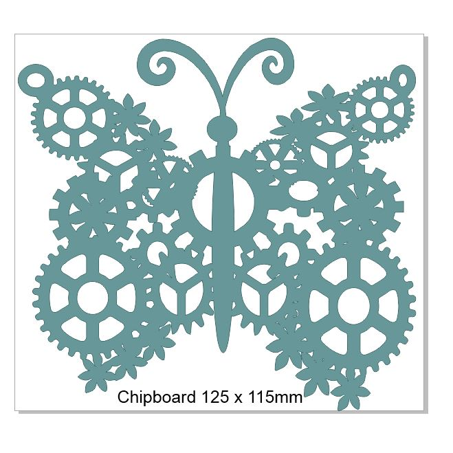 Butterfly steampunk chipboard 125 x 115.mm