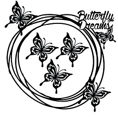 Butterfly dreams scribble frame  200 x 200 min buy 3