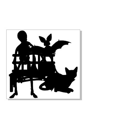 Black cat bat seat silhouette 87 x 85 pack of 4 chipboard or acr