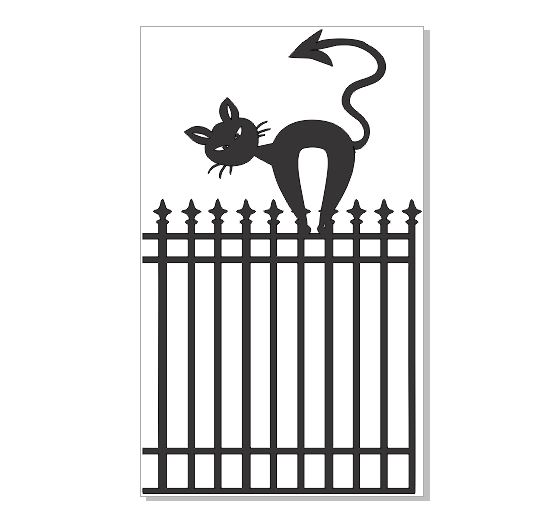 Cat on a fence  fence 50 x 83.mm packs of 4  Chipboard or acryli