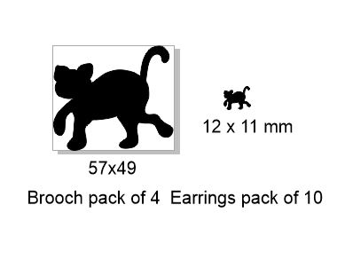 Cat ,Brooch or earring size acrylics see drop down box for order