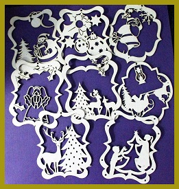 Christmas Decorations  MULTI pack of 5 Assorted chipboard