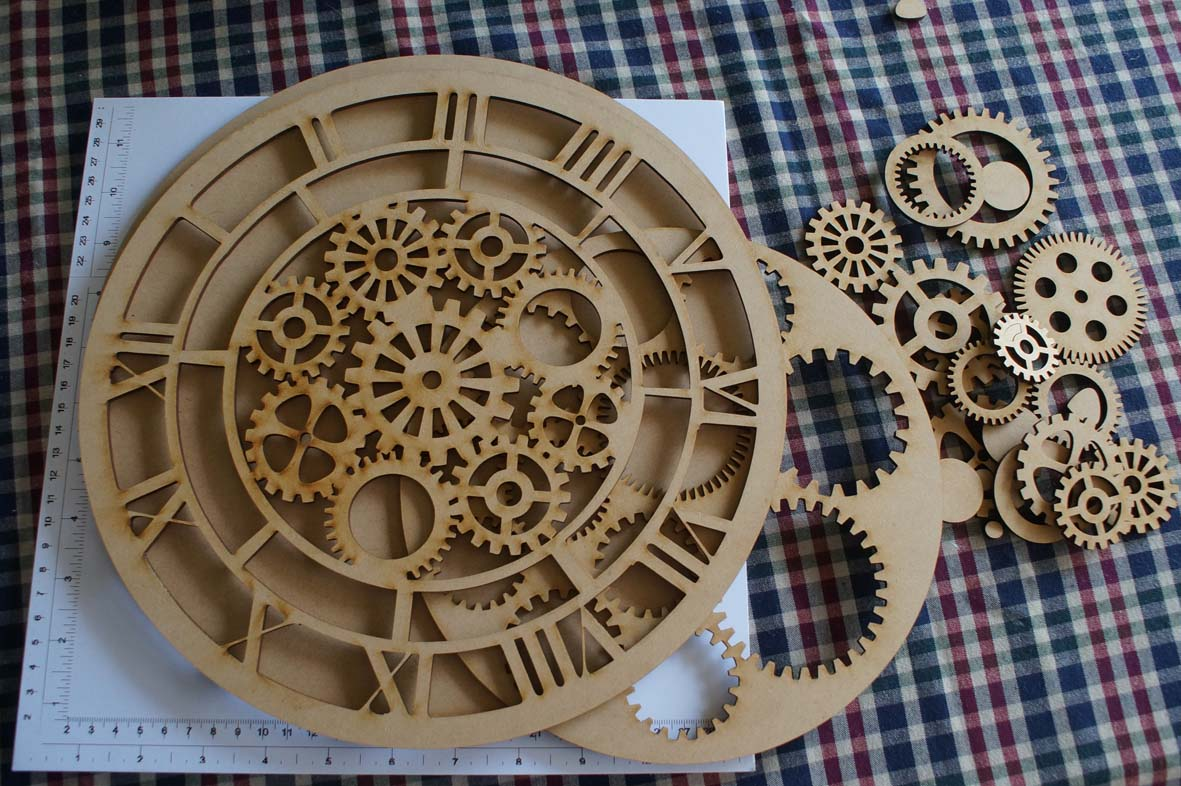 Clock with cogs 12 inches  MDF with extra cogs for decoration Do