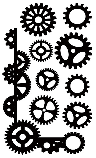 Corner and cogs steampunk  110 x 180mm  min buy 3