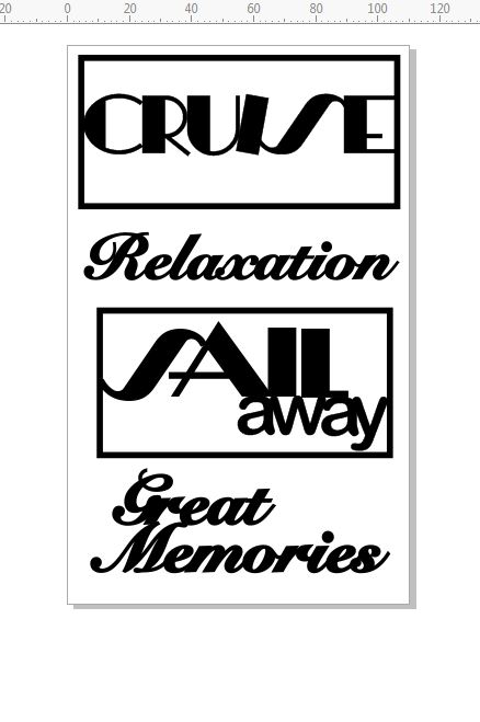 cruise \'sail away\'relaxation,  110 x 180mm. min buy 3