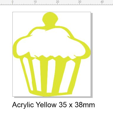 cupcake acrylic yellow 35 x 38mm pack of 5